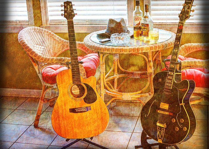 Guitar Greeting Card featuring the photograph Making Music 004 by Barry Jones