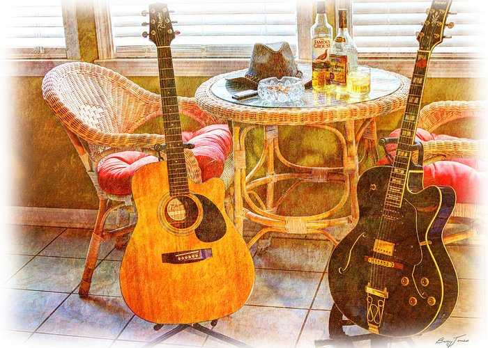 Guitar Greeting Card featuring the photograph Making Music 005 by Barry Jones