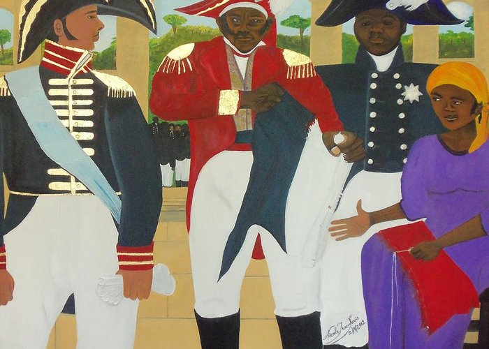 The Making Of The Haitian Flag By Nicole Jean-louis Greeting Card featuring the painting Making Of The Haitian Flag by Nicole Jean-Louis