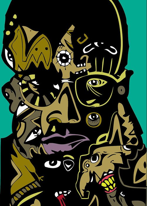 Leader Greeting Card featuring the digital art Malcolm X Full Color by Kamoni Khem