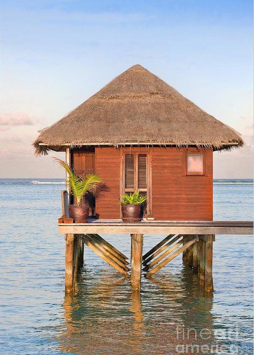 Atoll Greeting Card featuring the photograph Maldives Villa by Jane Rix