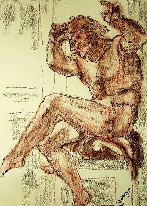 Male Greeting Card featuring the drawing Male Nude Figure Drawing Sketch With Power Dynamics Struggle Angst Fear And Trepidation In Charcoal by MendyZ M Zimmerman
