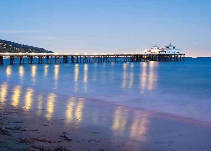 Sea Greeting Card featuring the photograph Malibu Pier Reflections by Adam Pender