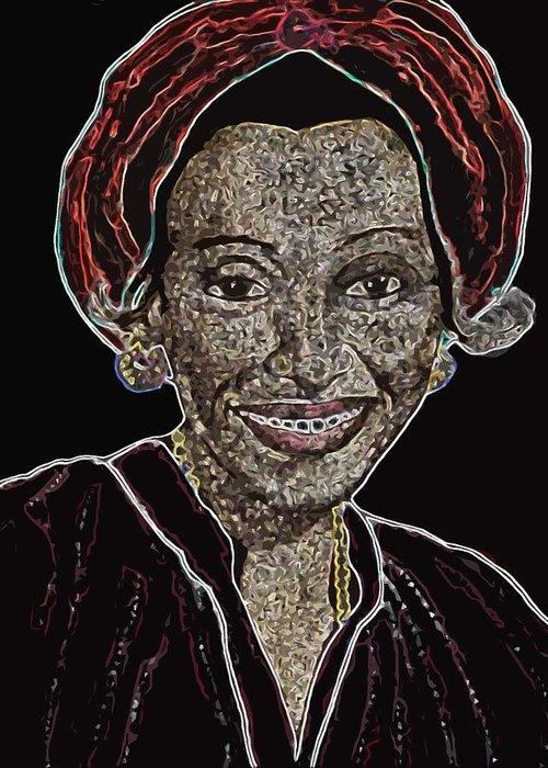 Mother Greeting Card featuring the digital art Mama Nura by Duwayne Washington