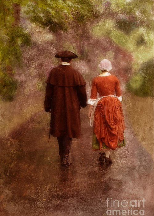 Couple Greeting Card featuring the photograph Man And Woman In 18th Century Clothing Walking by Jill Battaglia