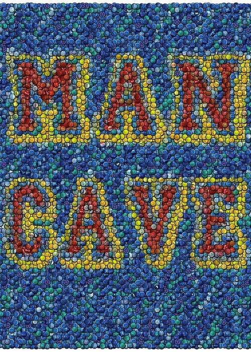 Man Cave Greeting Card featuring the mixed media Man Cave Bottle Cap Mosaic by Paul Van Scott