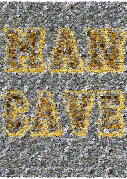 Man Cave Greeting Card featuring the mixed media Man Cave Coin Mosaic by Paul Van Scott