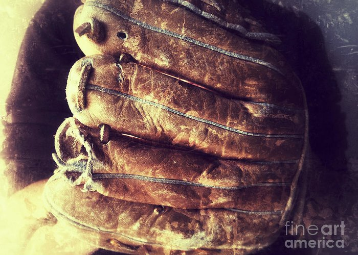 Baseball Glove Greeting Card featuring the photograph Man With Old Baseball Glove by Ruby Hummersmith