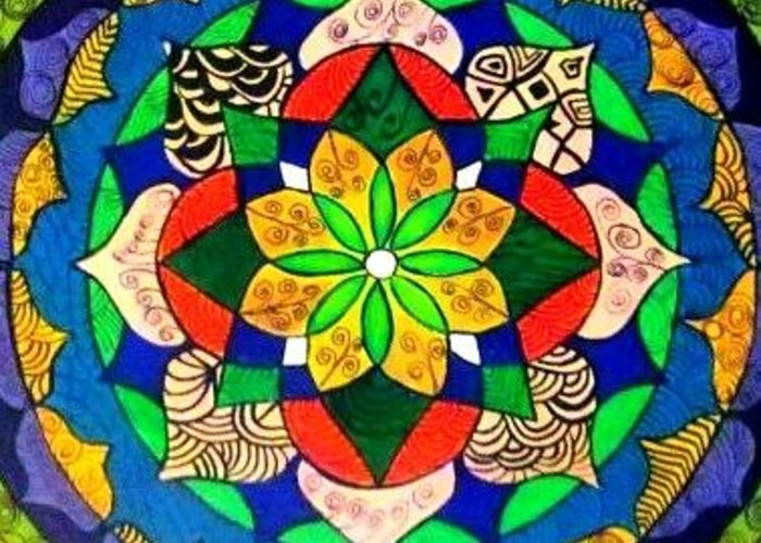 Mandala Greeting Card featuring the painting Mandala Circle Of Life by Sandra Lira