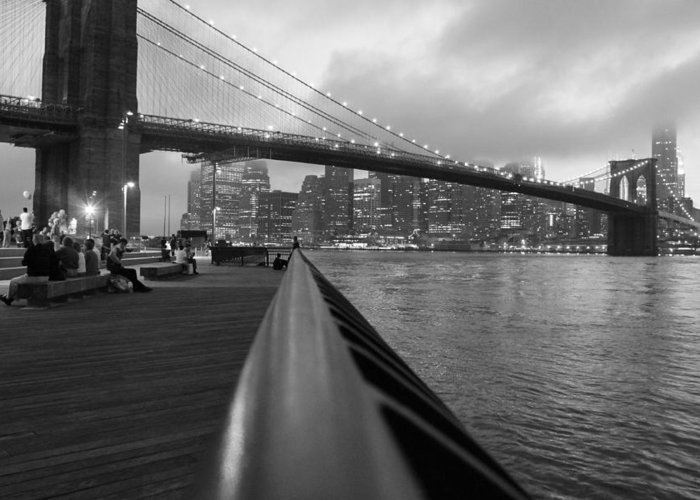 Brooklyn Bridge Greeting Card featuring the photograph Manhattan Bridge by Nina Mirhabibi
