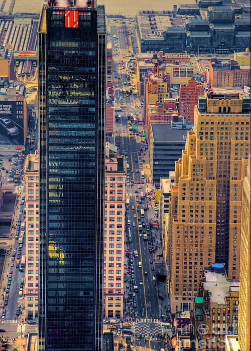 Nyc Greeting Card featuring the photograph Manhattan Streets From Above by Mark Dodd