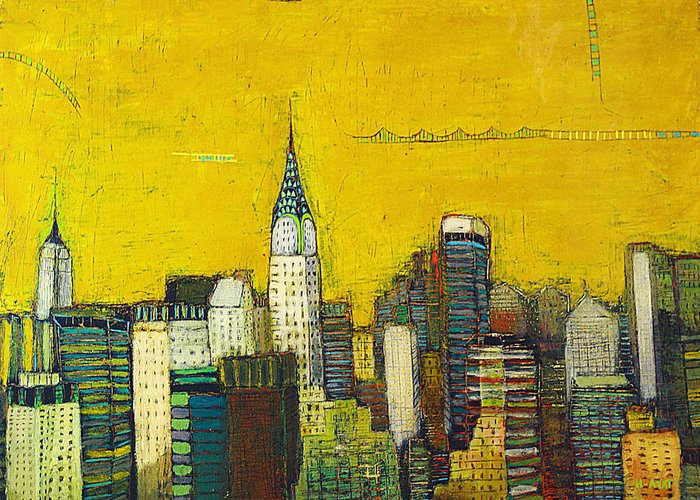 Usa Greeting Card featuring the painting Manhattan with Chrysler and Empire building by Habib Ayat