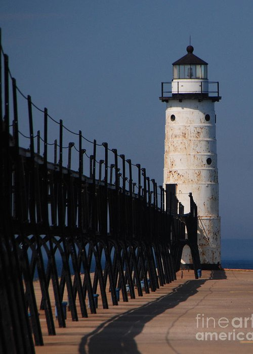 Lighthouse Greeting Card featuring the photograph Manistee Harbor Lighthouse And Cat Walk by Grace Grogan