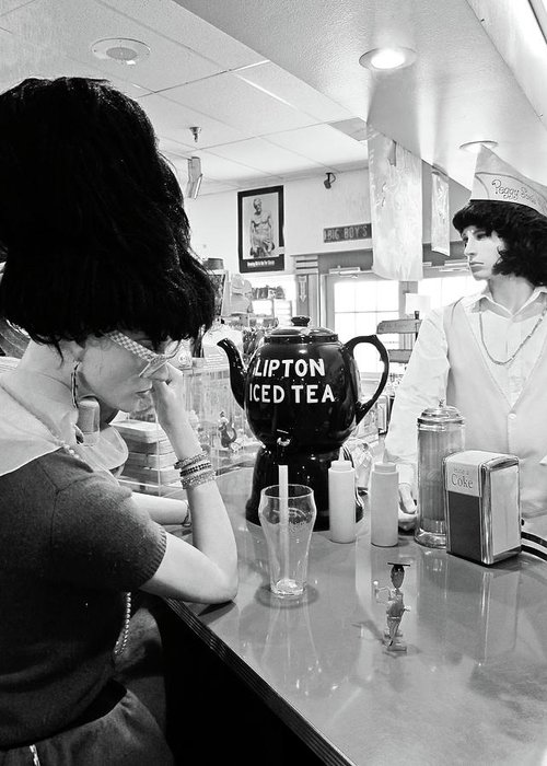 Peggy Sues 50's Diner Greeting Card featuring the photograph Mannequins At Peggy Sues 50's Diner by Julie Niemela