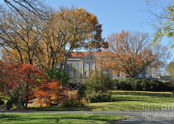 Cheekwood Gardens Greeting Card featuring the photograph Mansion In The Woods by Denise Ellis