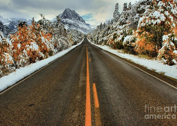 Glacier National Park Greeting Card featuring the photograph Many Glacier Road by Adam Jewell