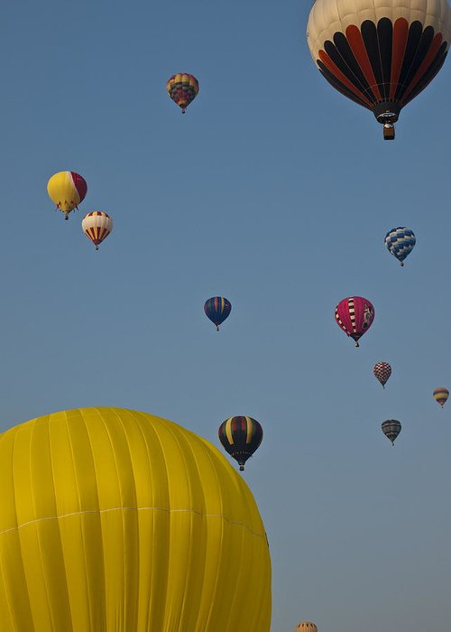 Montreal Greeting Card featuring the photograph Many People Lift Off In Hot Air by Stacy Gold