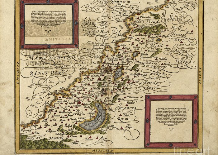 1500s Greeting Card featuring the photograph Map Of Palestine, 1588 by Photo Researchers