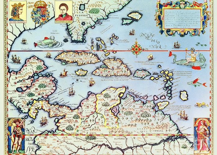 Maps Greeting Card featuring the drawing Map Of The Caribbean Islands And The American State Of Florida by Theodore de Bry