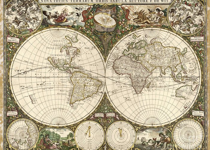1600s Greeting Card featuring the photograph Map Of The World, 1660 by Photo Researchers