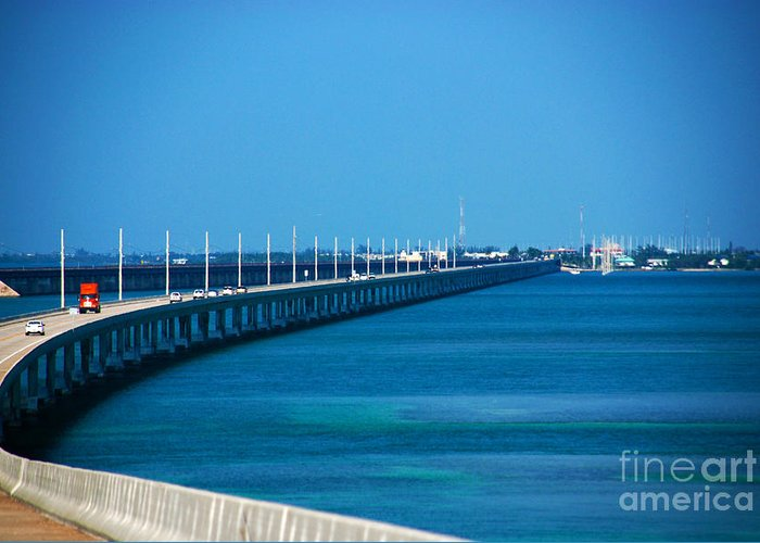 Marathon Greeting Card featuring the photograph Marathon And The 7mile Bridge In The Florida Keys by Susanne Van Hulst