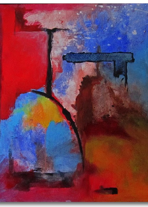 Abstract Greeting Card featuring the painting Marathon by Snake Jagger