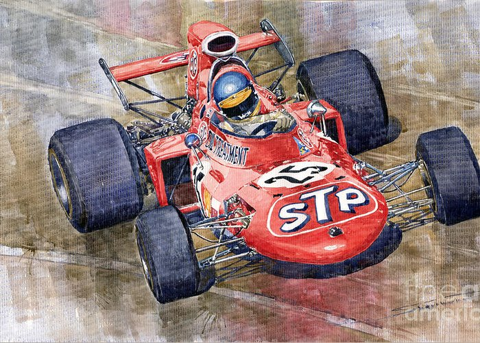 Watercolor Greeting Card featuring the painting March 711 Ford Ronnie Peterson Gp Italia 1971 by Yuriy Shevchuk