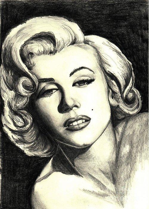Marilyn Greeting Card featuring the painting Marilyn Monroe by Debbie DeWitt