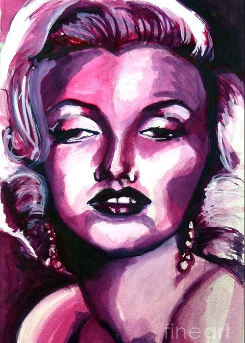 Marilyn Monroe Greeting Card featuring the painting Marilyn Monroe by Hannah Chusid