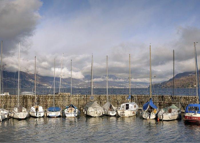 Boat Greeting Card featuring the photograph Marina Cannobio by Joana Kruse