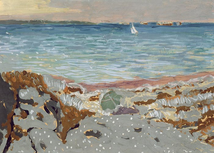 Post-impressionist; Seascape; Coast; Coastal; Pebble Beach; Sailing Boat Picturesque Greeting Card featuring the painting Marine by Edouard Vuillard