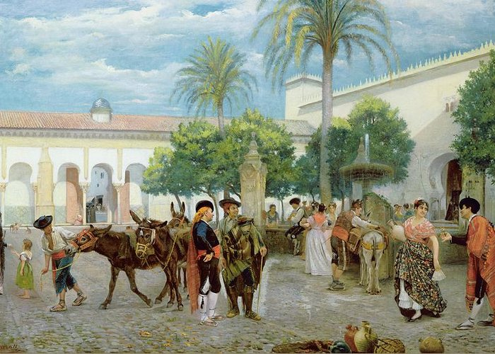Medina; Donkey; Water Jug; Palm Tree Greeting Card featuring the painting Market Day In Spain by Filippo Baratti