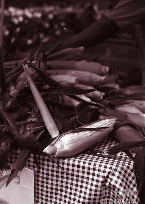 Corn Greeting Card featuring the photograph Market Stall by Amanda McIntyre