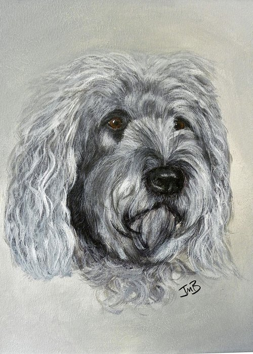 Dog Greeting Card featuring the painting Marley by Janice M Booth