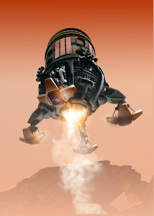 Adventure Greeting Card featuring the photograph Mars Lander, Artwork by Victor Habbick Visions
