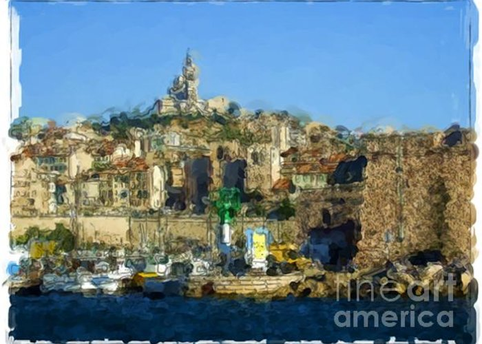 Landscapes Greeting Card featuring the painting Marseille - France by Franck Guarinos