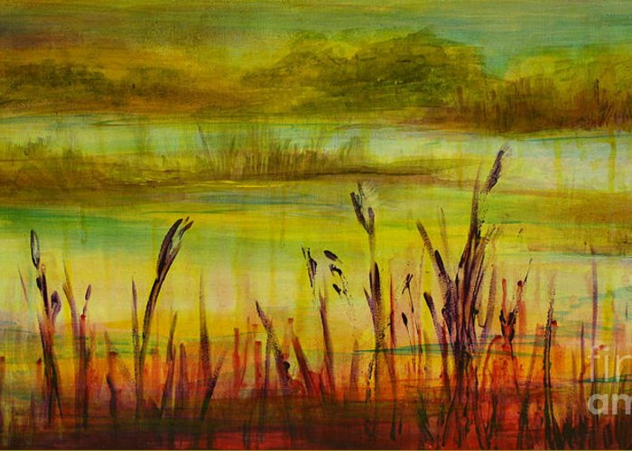 Landscape Greeting Card featuring the painting Marsh View by Sandra Taylor-Hedges