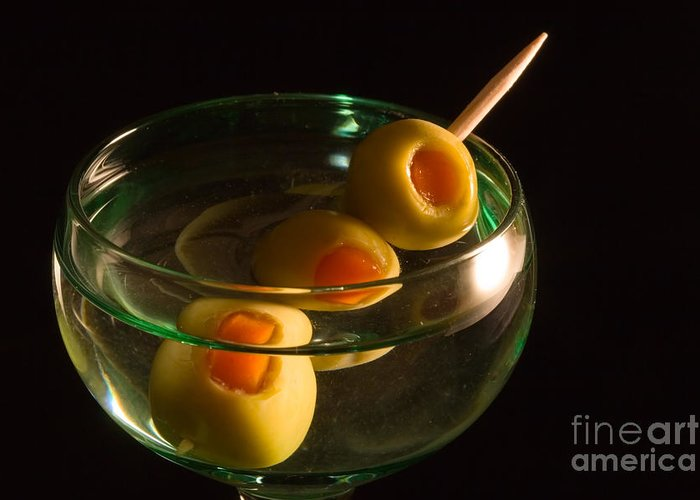 Drink Greeting Card featuring the photograph Martini Cocktail With Olives In A Green Glass by ELITE IMAGE photography By Chad McDermott