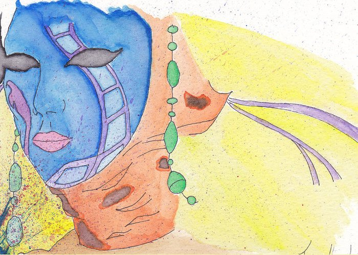 Masquerade Greeting Card featuring the drawing Mask by Jona Henshall