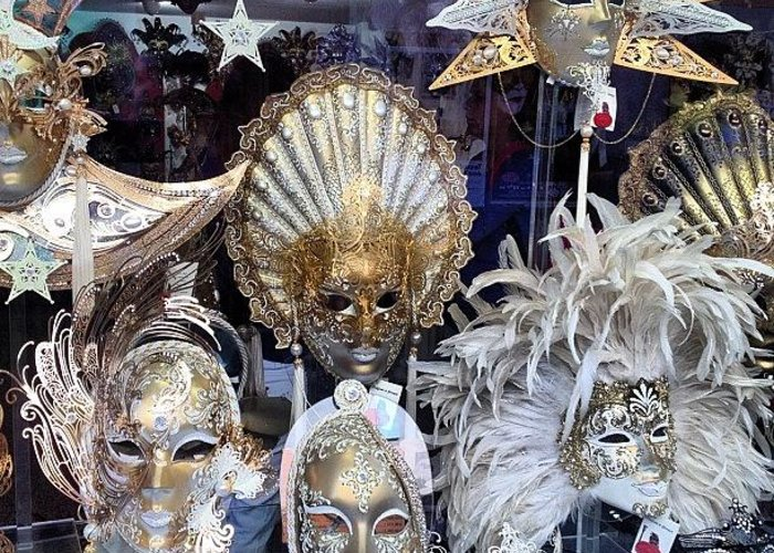 Venice Greeting Card featuring the photograph Masks in Venice Italy by Irina Moskalev