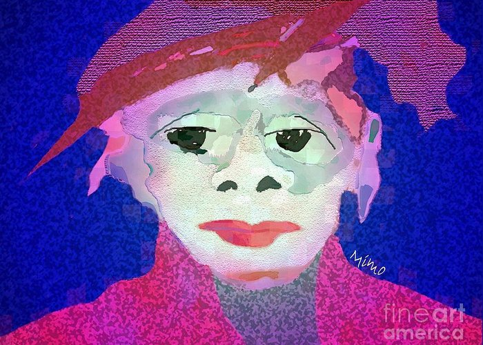 Figurarive Greeting Card featuring the mixed media Matching Hat by Mimo Krouzian
