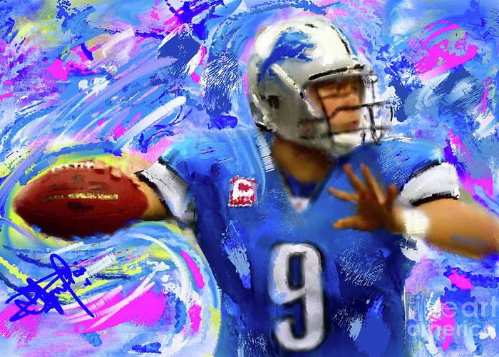Sports Greeting Card featuring the painting Matthew Stafford by Donald Pavlica