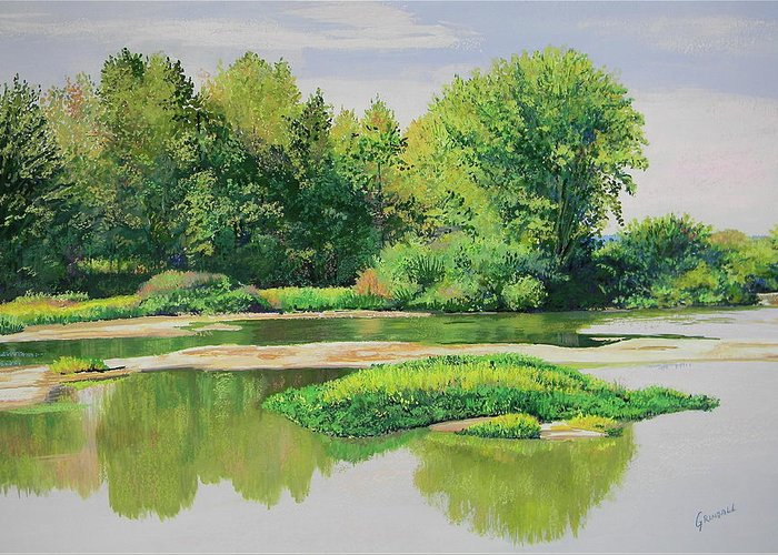 Landscape Greeting Card featuring the painting Maumee Reflection by Keith Grindall
