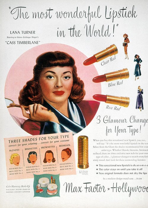 1948 Greeting Card featuring the photograph Max Factor Lipstick Ad by Granger