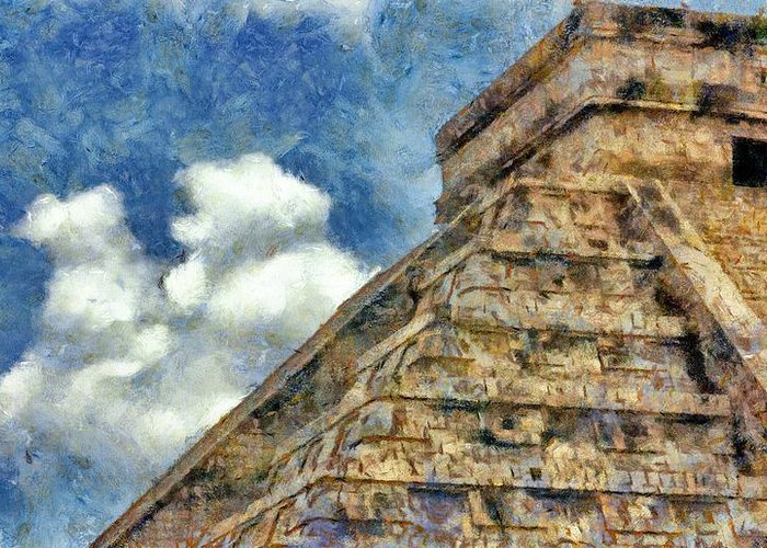 Ancient Greeting Card featuring the painting Mayan Mysteries by Jeff Kolker