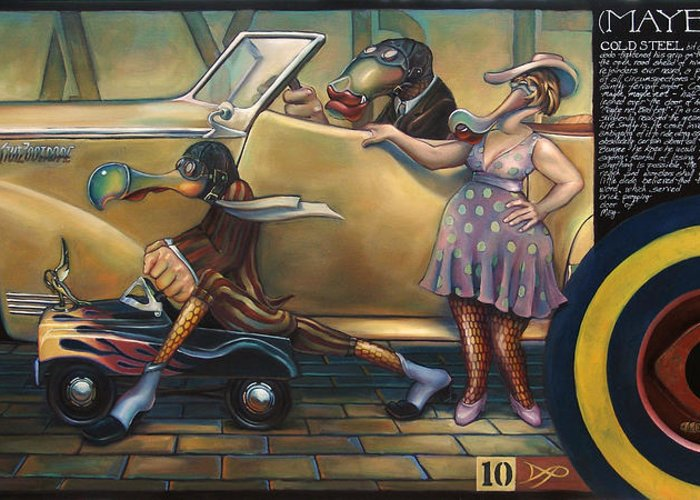 Automobile Greeting Card featuring the painting Maybe Maybe Not by Patrick Anthony Pierson