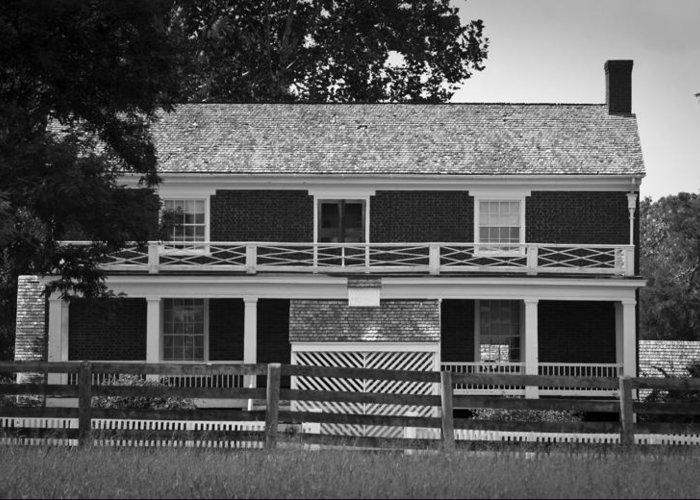 Appomattox Greeting Card featuring the photograph Mclean House Bw Appomattox Virgnia by Teresa Mucha