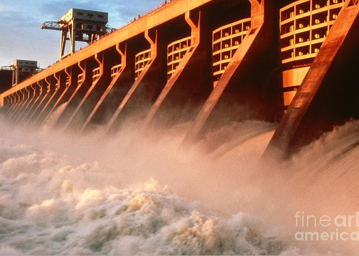 Hydroelectric Power Greeting Card featuring the photograph Mcnary Dam by DOE/Science Source