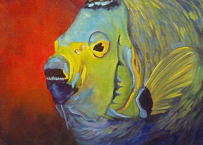 Fish Greeting Card featuring the painting Mean Green Fish by Barbara Haviland