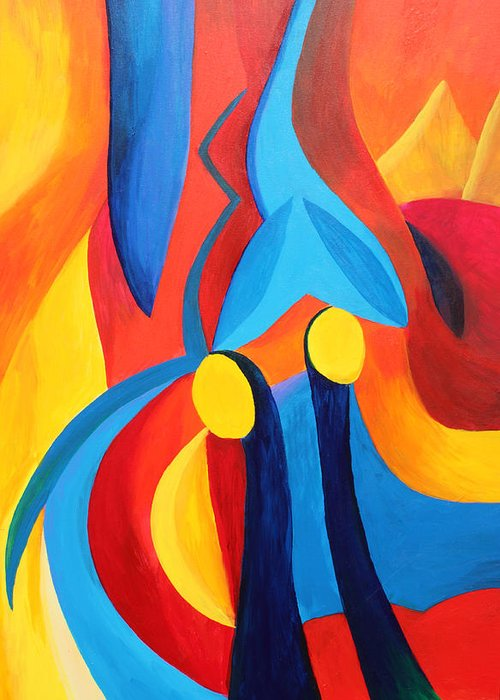 Abstract Greeting Card featuring the painting Meaningful by Peter Shor